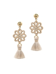 BEIGE TASSEL FLORAL ART EARRINGS