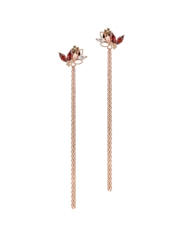 RED NATURE ROSEGOLD TASSEL EARRINGS