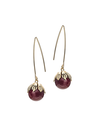 FRUITI MAROON GOLD PLATED EARRINGS