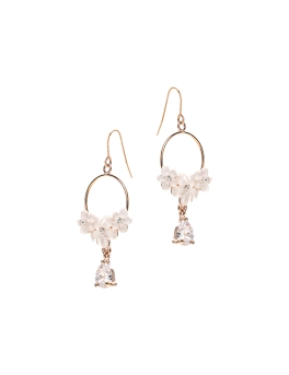 TRIO FLOWERS CUBIC STONE EARRINGS