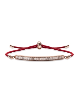 ADJUSTABLE RED CORD BAR BRACELET