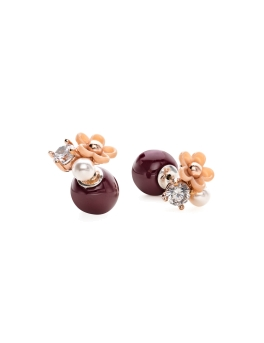 FLORAL MAROON DUO EARRINGS