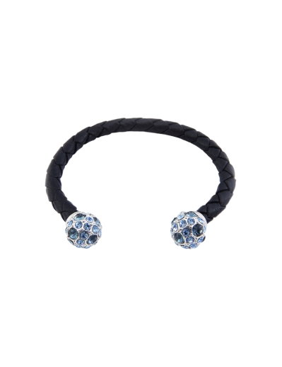 TWIN PUFFS WEAVED BANGLE (NAVY)