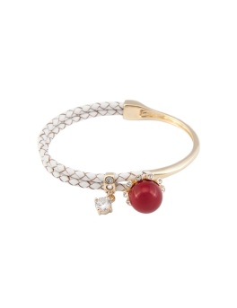 RED PEARL LEATHER BANGLE