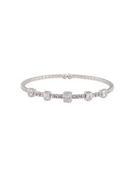 STACKABLE CUBIC RHODIUM BANGLE