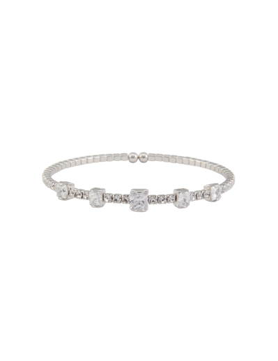 STACKABLE RHODIUM CUBIC BRACELET