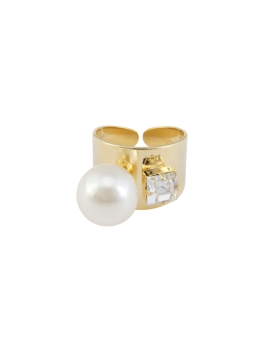 MODERN PEARL CRYSTAL RING (GOLD)