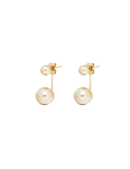 TWIN SPHERES GOLD EARRINGS