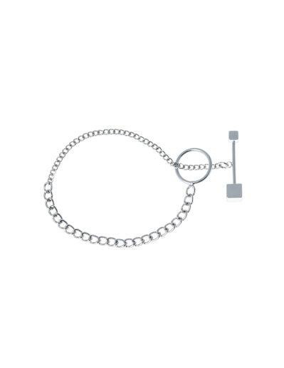 HOOP AND LATCH RHODIUM BRACELET