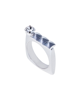 GEM AND SQUARE RHODIUM RING