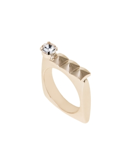 GEM AND SQUARE GOLD RING