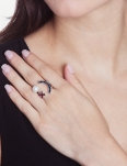 SMILE AND CRYSTALS RHODIUM RING