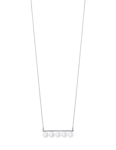 PEARL RHODIUM BAR NECKLACE