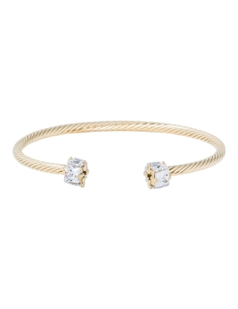 CRYSTALS TWIRL GOLD BANGLE