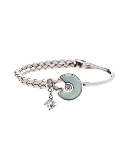 MOTHER OF PEARL RHODIUM BANGLE