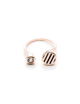 CZ AND BLACK STRIPES ROSEGOLD RING