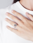 BLACK STRIPES ROSEGOLD RING
