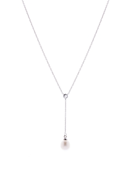 Y CUBIC AND PEARL NECKLACE