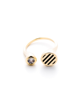CZ AND BLACK STRIPES GOLD RING